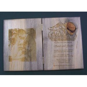 "6"" x 8"" - Hardwood Picture Book - Hinged - Laser Engraved - USA-Made"