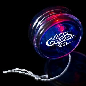"2"" Light-Up Blue/Clear Yo-Yo w/Red LED"