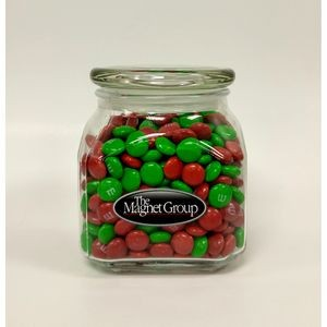 Holiday M&Ms® Plain in Med Glass Jar