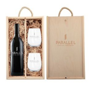 Rustic Laser Engraved Box w/Custom Etched Wine with Glasses