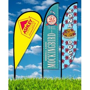 Zoom 3 Feather Flag w/ Stand- 10ft Single Sided Graphic
