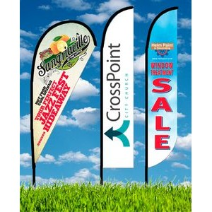 Zoom 4 Straight Flag w/ Stand - 13ft Single Sided Graphic