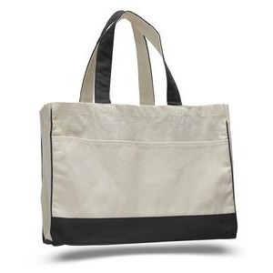 Natural Canvas Tote Bag w/ Contrast Handles & Trim - Blank (22