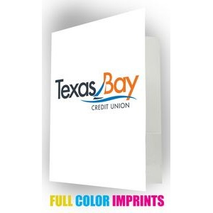 Pocket Folder W/ 3 Full Color Imprint Spaces, Glossy Finish & Business Card Slot