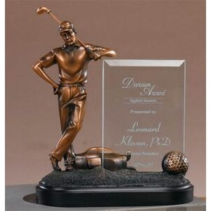 "Golfer's Gratification Award with Glass Plaque. 9""h x 8""w x 3-1/2""d."