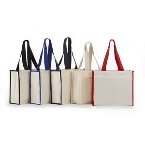 Canvas Tote Bag with Color Handles